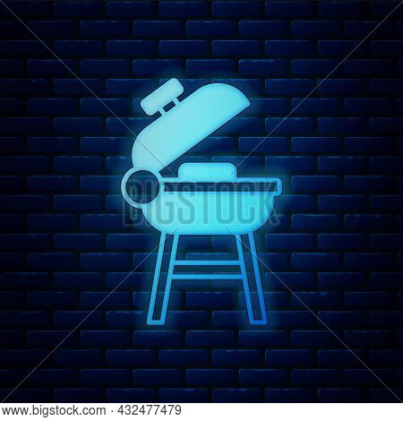 Glowing Neon Barbecue Grill Icon Isolated On Brick Wall Background. Bbq Grill Party. Vector