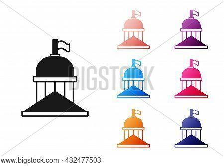 Black White House Icon Isolated On White Background. Washington Dc. Set Icons Colorful. Vector