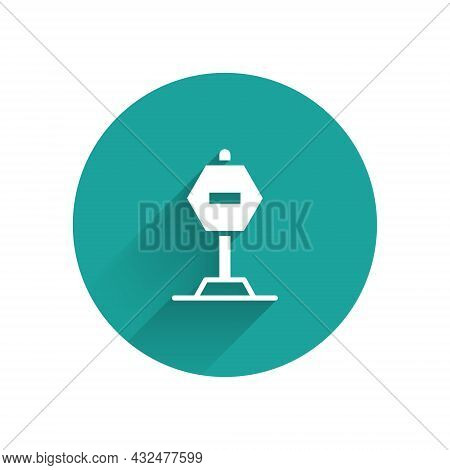 White Stop Sign Icon Isolated With Long Shadow Background. Traffic Regulatory Warning Stop Symbol. G