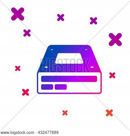 Color Optical Disc Drive Icon Isolated On White Background. Cd Dvd Laptop Tray Drive For Read And Wr
