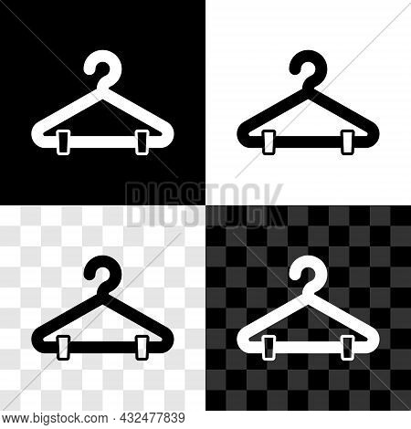 Set Hanger Wardrobe Icon Isolated On Black And White, Transparent Background. Cloakroom Icon. Clothe