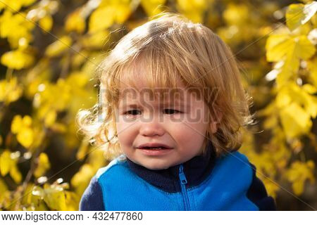 Child Crying. Kids Face, Little Boy Portrait. Baby Cry.
