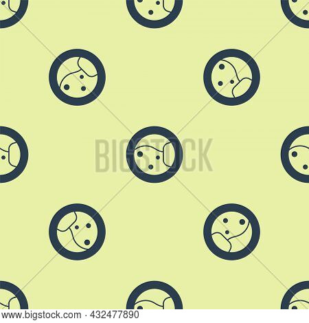Blue Washer Icon Isolated Seamless Pattern On Yellow Background. Washing Machine Icon. Clothes Washe