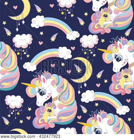 Seamless Pattern With Cute Mom And Baby Unicorns, Clouds, Rainbow And Stars. Magic Background With U