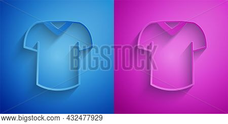 Paper Cut T-shirt Icon Isolated On Blue And Purple Background. Paper Art Style. Vector