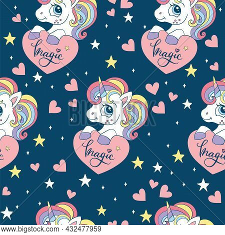 Seamless Pattern With Cute Unicorn With Hearts And Stars. Magic Background With Unicorns. Vector Ill