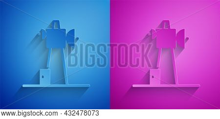 Paper Cut Antenna Icon Isolated On Blue And Purple Background. Radio Antenna Wireless. Technology An