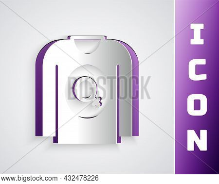 Paper Cut Feminist Shirt Icon Isolated On Grey Background. Fight For Freedom, Independence, Equality