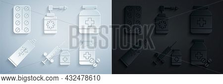 Set Medical Syringe With Needle And Vial Or Ampoule, Medicine Bottle, Ointment Cream Tube Medicine,