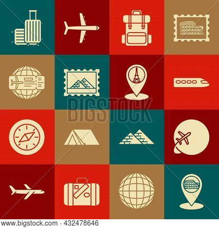 Set Map Pointer With Coliseum In Rome, Italy, Globe Flying Plane, Train, Hiking Backpack, Postal Sta