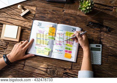 Calendar Schedule Agenda Or Organizer At Desk