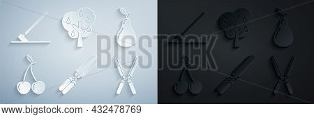 Set Gardening Handmade Scissors For Trimming, Pear, Cherry, Tree With Pears And Rake Work Icon. Vect
