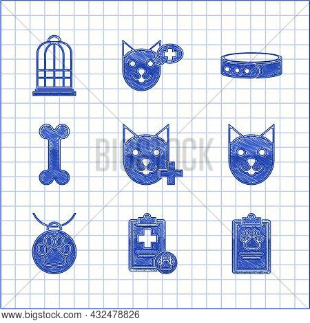 Set Veterinary Clinic Symbol, Clipboard With Medical Clinical Record Pet, Cat, Collar Name Tag, Dog