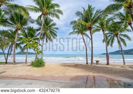 Phuket Patong Beach Summer Beach With Palms Trees Around In Patong Beach Phuket Island Thailand, Bea