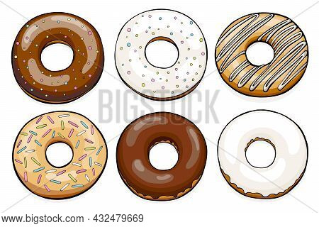 Group Of Different Donuts With Sugar And Chicolate Glaze. Vector Illustration Isolated On White Back