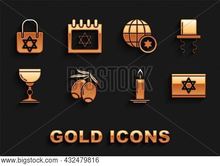 Set Olives Branch, Orthodox Jewish Hat With Sidelocks, Flag Of Israel, Burning Candle In Candlestick