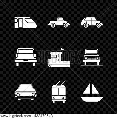 Set Train, Pickup Truck, Hatchback Car, Car, Trolleybus, Yacht Sailboat Or Sailing Ship, And Fishing
