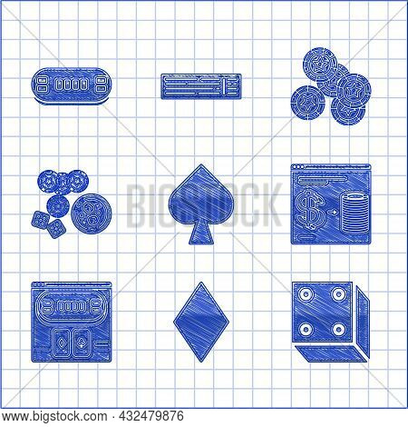 Set Playing Card With Spades Symbol, Diamonds, Game Dice, Online Casino Chips Exchange Stacks Of Dol
