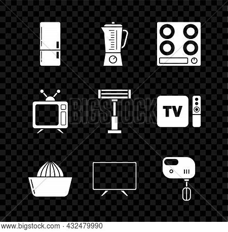 Set Refrigerator, Blender, Gas Stove, Citrus Fruit Juicer, Smart Tv, Electric Mixer, Television And