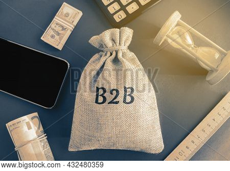 Money Bag B2b ( Business-to-business ). A Business Enters Into A Commercial Transaction With Another