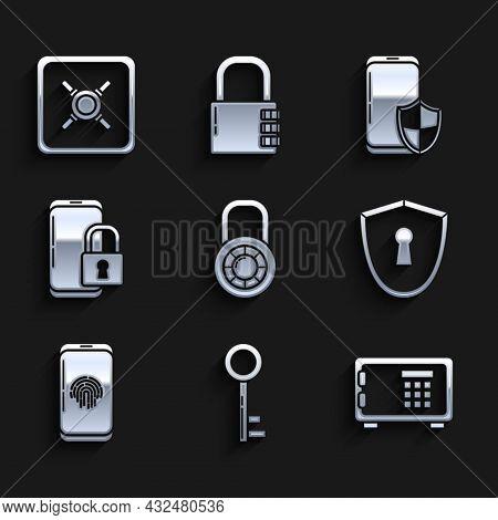 Set Safe Combination Lock Wheel, Key, Shield With Keyhole, Smartphone Fingerprint Scanner, Closed Pa