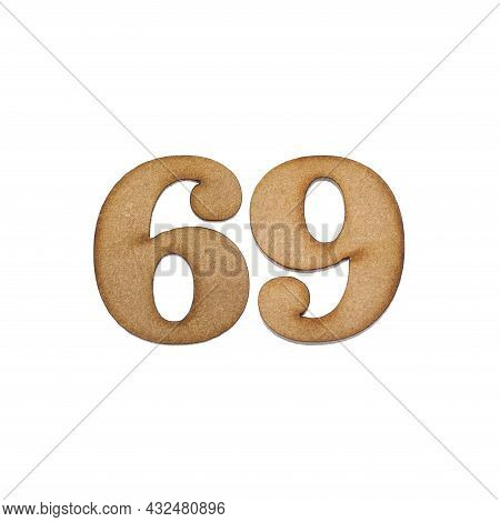 Number 69 In Wood, Isolated On White Background