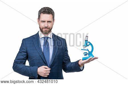 Future. Unique Medicine Invention. Businessman Presenting Microscope. Successful Man Scientist