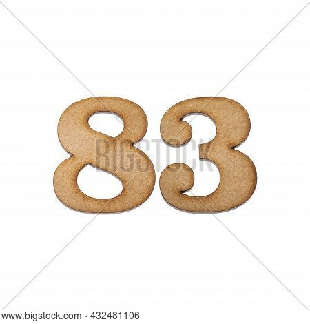 Number Eighty-three, 83 - Piece Of Wood Isolated On White Background