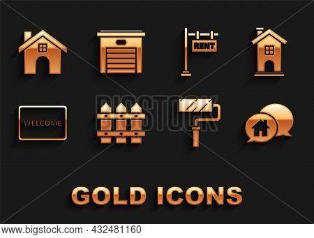 Set Garden Fence Wooden, Home Symbol, House Building In Speech Bubble, Paint Roller Brush, Doormat W