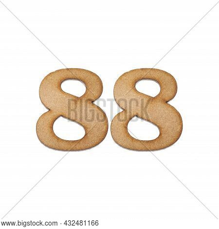 Number 88 In Wood, Isolated On White Background
