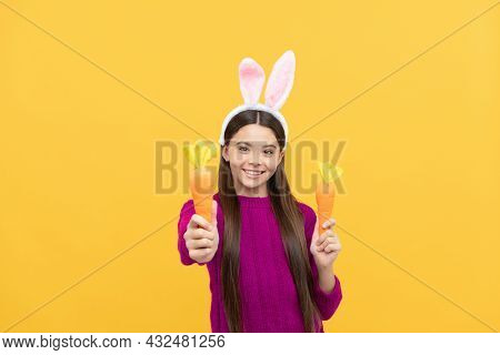 Surprised Teen Kid In Easter Bunny Ears With Carrot, Bunny Hunt