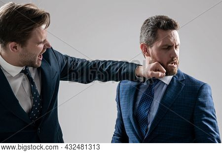 Knockout. Struggle For Leadership. Displeased Colleague Dispute. Negotiations. Businessmen Fighting