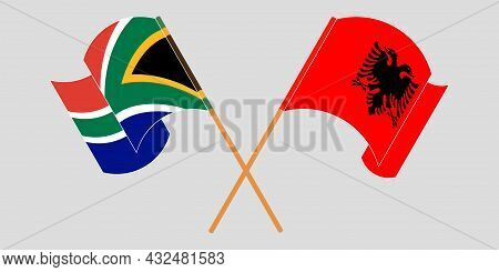 Crossed And Waving Flags Of Albania And Republic Of South Africa