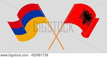Crossed And Waving Flags Of Albania And Armenia