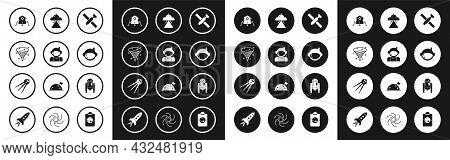 Set Satellite, Astronaut, Black Hole, Mars Rover, Helmet, Ufo Flying Spaceship, Robot And Icon. Vect