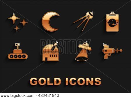 Set Astronomical Observatory, Planet, Ray Gun, Ufo Flying Spaceship, Mars Rover, Satellite, Falling