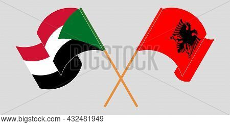 Crossed And Waving Flags Of Albania And Sudan