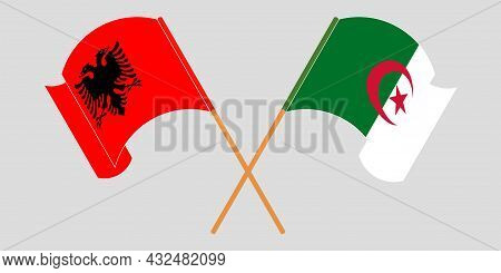 Crossed And Waving Flags Of Albania And Algeria