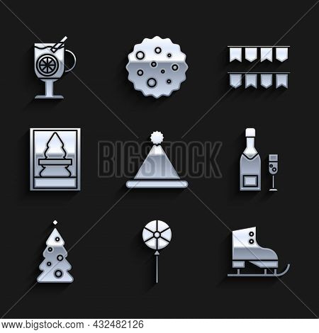 Set Christmas Santa Claus Hat, Lollipop, Figure Skates, Champagne Bottle And Glass Of Champagne, Tre