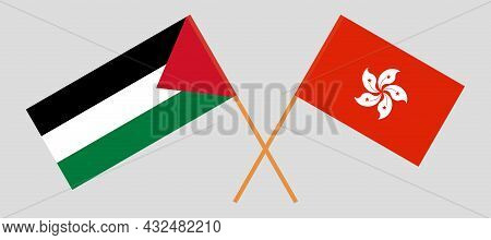Crossed Flags Of Palestine And Hong Kong