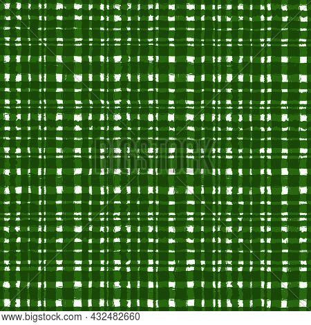 Olive White Green Checkered Old Vintage Background With Blur, Gradient And Grunge Texture. Classic C