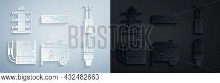 Set Portable Power Electric Generator, Electric Cable, Ampere Meter, Multimeter, Voltmeter, Led Ligh