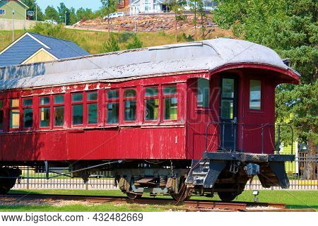 September 8, 2021 In Hill City, Sd:  Vintage Rail Car On Display At The Hill City, Sd Railroad Museu