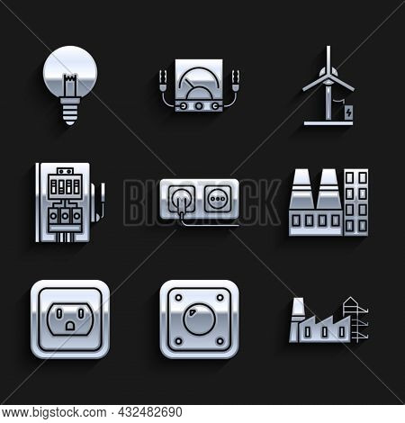 Set Electrical Outlet, Light Switch, Power Station Plant And Factory, In The Usa, Panel, Wind Turbin