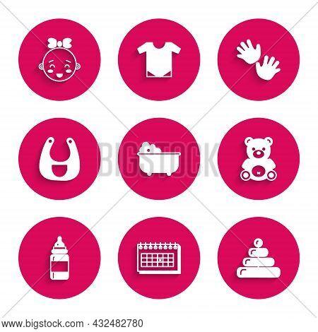 Set Baby Bathtub, Calendar, Pyramid Toy, Teddy Bear Plush, Bottle, Bib, Hands Print And Happy Little