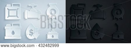 Set Drop In Crude Oil Price, Oil And Gas Industrial Factory Building, Canister For Motor Machine, In