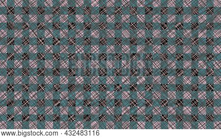 Gray Blue Green Vintage Checkered Background. Space For Graphic Design. Checkered Texture. Classic C
