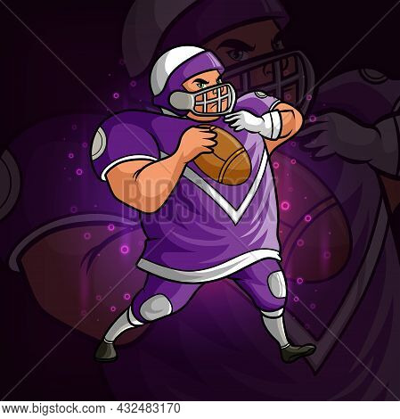 The Strong Rugby Player Esport Mascot Design Of Illustration