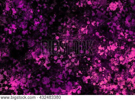 Pink Black Magenta Vintage Background With Spots, Splashes And Dots. Watercolor Texture With Blur An
