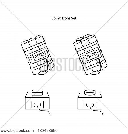 Bomb Icons Set Isolated On White Background. Bomb Icon Thin Line Outline Linear Bomb Symbol For Logo